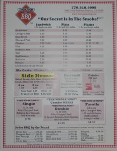 Thompson Brothers menu