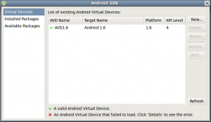 Android AVD dialog